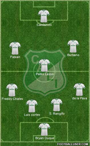 AC Deportivo Cali 3-4-2-1 football formation