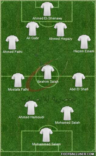 Telecom Egypt 4-3-2-1 football formation