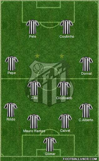 Santos FC 4-2-2-2 football formation