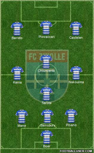 FC Zwolle 3-4-3 football formation