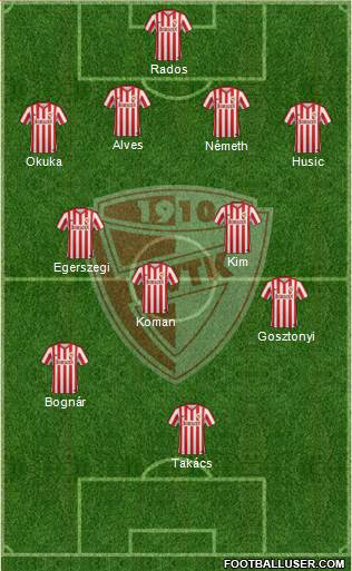 Diósgyõri VTK 4-2-3-1 football formation