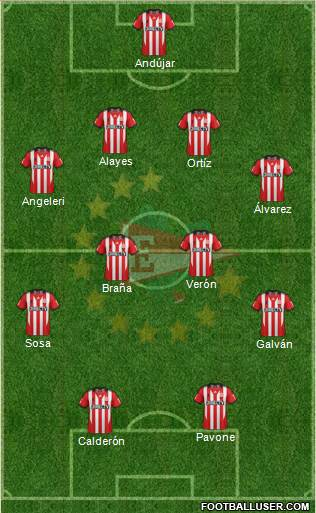 Estudiantes de La Plata 4-4-2 football formation