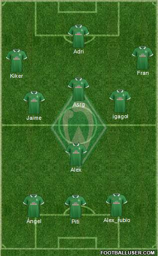 Werder Bremen 3-4-3 football formation