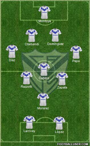 Vélez Sarsfield 4-3-1-2 football formation