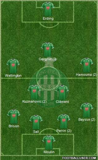 A.S. Saint-Etienne 4-5-1 football formation
