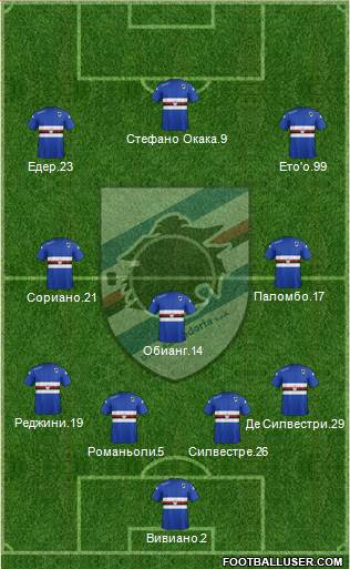 Sampdoria 4-1-3-2 football formation