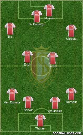 R Standard de Liège 4-4-2 football formation