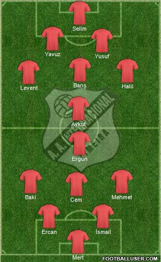 AA Internacional 4-2-3-1 football formation