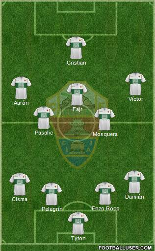 Elche C.F., S.A.D. 4-3-2-1 football formation