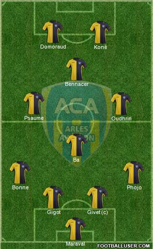 Athlétic Club Arles-Avignon 4-4-2 football formation