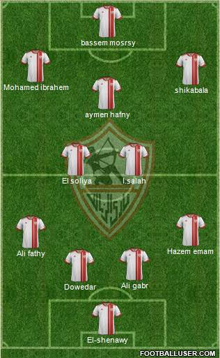 Zamalek Sporting Club 4-2-4 football formation