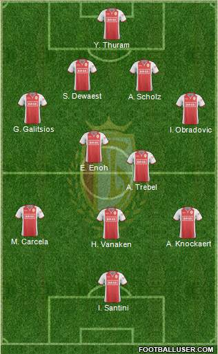 R Standard de Liège 4-2-3-1 football formation