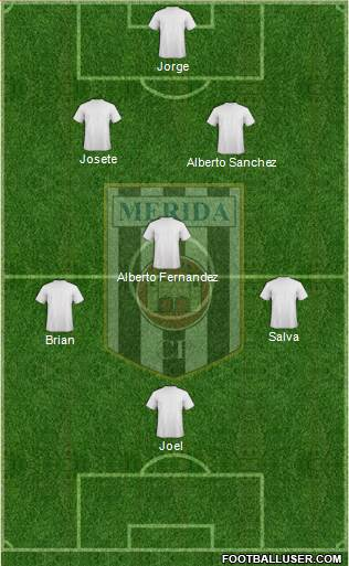 U.D. Mérida 4-4-2 football formation