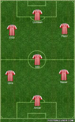 Stoke City 5-4-1 football formation