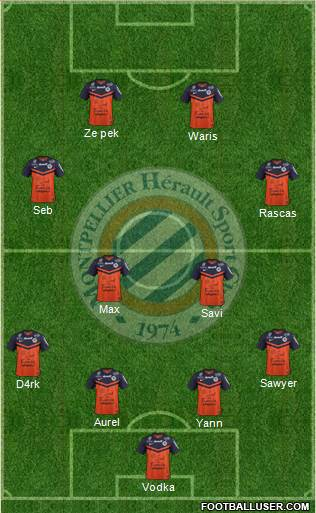 Montpellier Hérault Sport Club 4-2-2-2 football formation