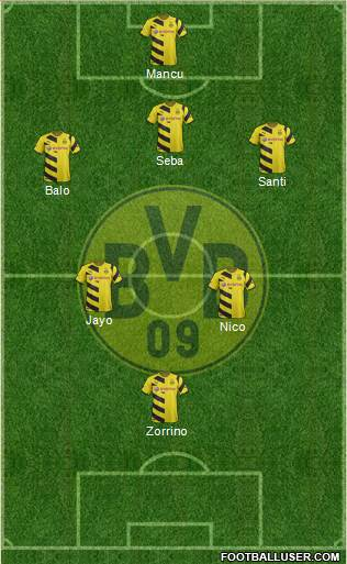 Borussia Dortmund 5-4-1 football formation