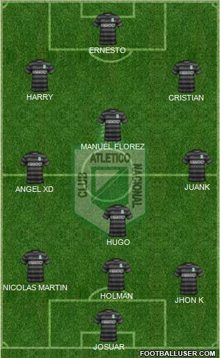 CDC Atlético Nacional 4-3-1-2 football formation