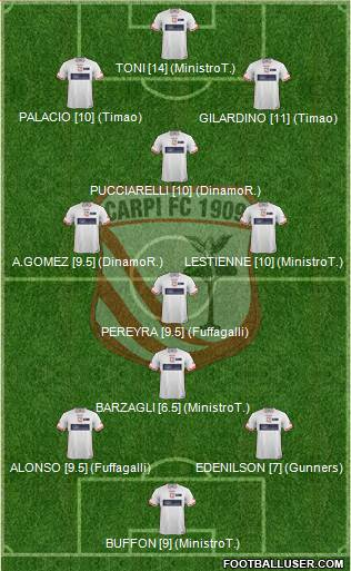 Carpi 3-4-3 football formation