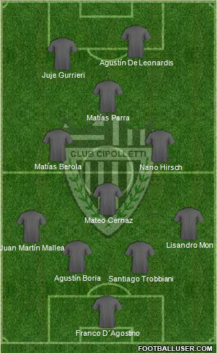 Cipolletti de Río Negro 4-3-1-2 football formation