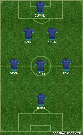 India 5-3-2 football formation