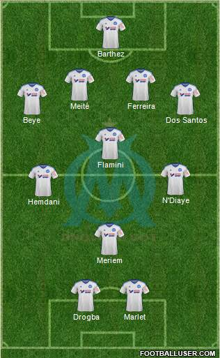 Olympique de Marseille 4-3-1-2 football formation