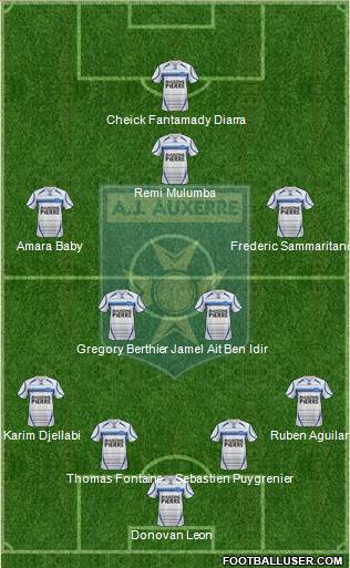 A.J. Auxerre 4-4-1-1 football formation