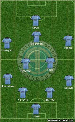Belgrano de Córdoba 4-5-1 football formation