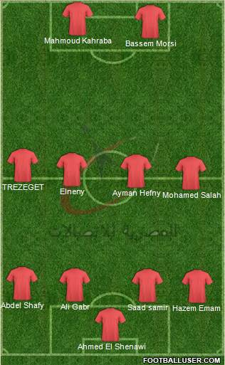 Telecom Egypt 4-4-2 football formation