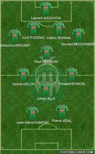 A.S. Saint-Etienne 4-1-3-2 football formation