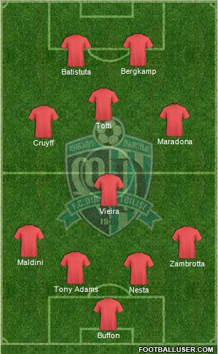 Dinamo Tbilisi 4-1-3-2 football formation
