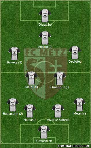 Football Club de Metz 4-5-1 football formation