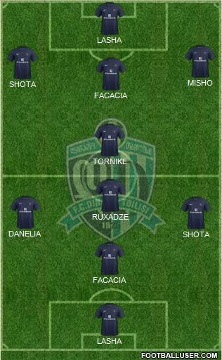 Dinamo Tbilisi 5-4-1 football formation