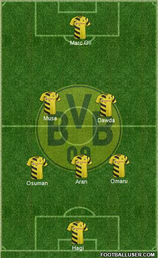 Borussia Dortmund 3-5-1-1 football formation