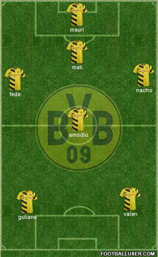 Borussia Dortmund 5-3-2 football formation
