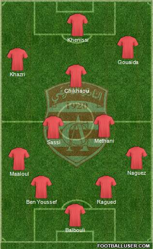 Club Africain Tunis 4-2-2-2 football formation
