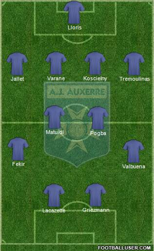 A.J. Auxerre 4-2-2-2 football formation