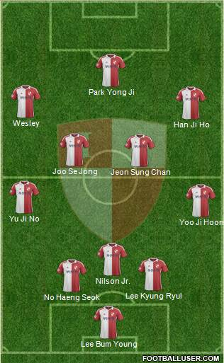 Busan I'PARK 3-4-3 football formation