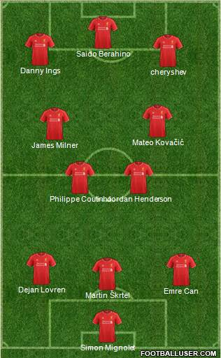 Liverpool 3-4-3 football formation
