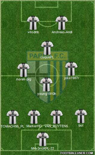 Parma 4-2-2-2 football formation