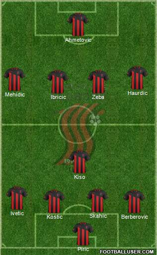 FK Sloboda Tuzla 4-1-4-1 football formation