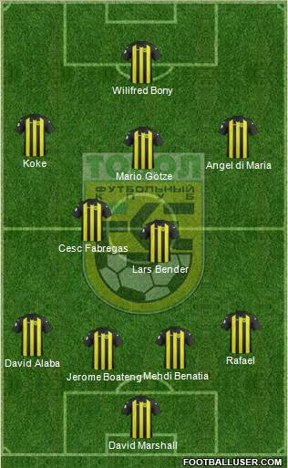 Tobyl Kostanay 4-2-3-1 football formation