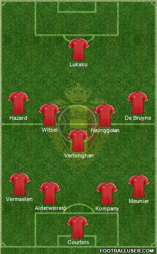 Belgium 4-1-4-1 football formation