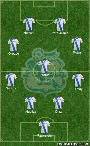 Club Puebla de la Franja 4-3-2-1 football formation