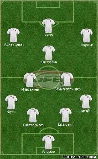 Austria 4-2-3-1 football formation