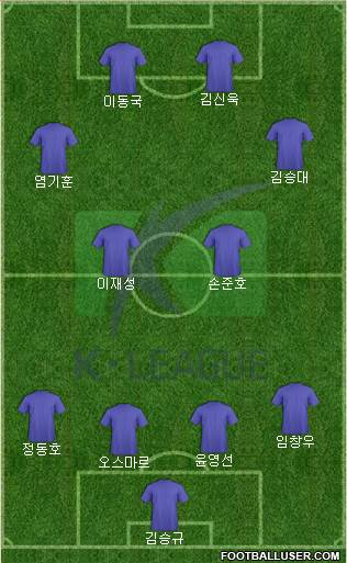 K-League All-Stars 4-2-2-2 football formation