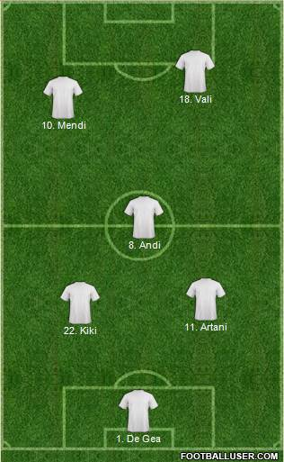 KF Ulpiana 5-4-1 football formation