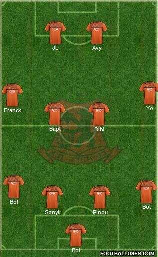 Bnei Yehuda Tel-Aviv 4-4-2 football formation