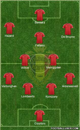 Belgium 4-2-1-3 football formation