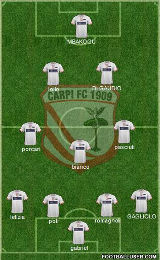 Carpi 4-3-2-1 football formation