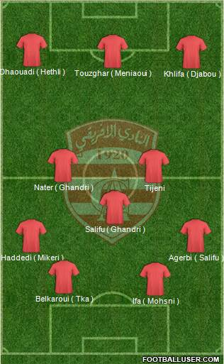 Club Africain Tunis 4-3-3 football formation